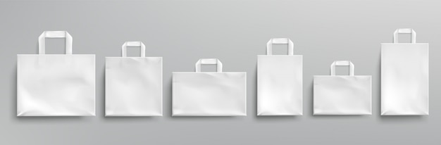 Sacs écologiques en papier blanc de différentes formes.