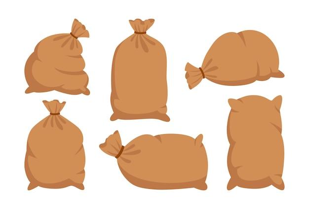 Sacs avec de la farine ou du sucre jeu de dessin animé collection de sac de toile de jute récolte de la production de farine symbole agricole