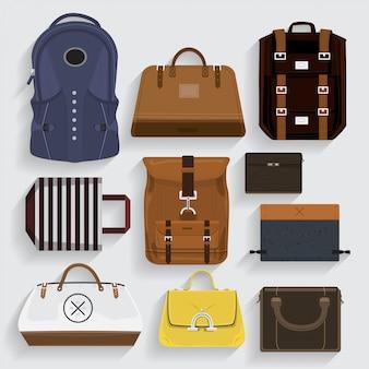 Sacs d'icônes en cuir, tissu, dossier dans le style.