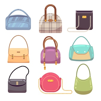 Sacs à main de dames colorées, accessoires de femme collection de vecteur. sac à main de luxe, accessoire sac illustration féminine