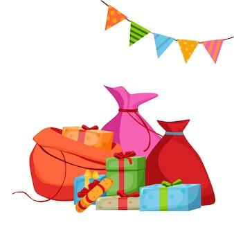 Sacs de noël avec des cadeaux à côté desquels il y a des boîtes avec des cadeaux illustration vectorielle
