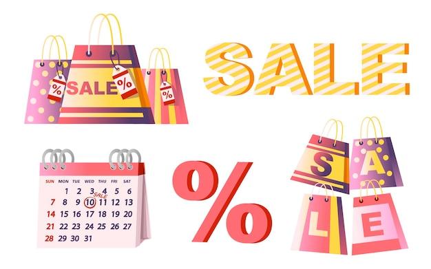 Sacs en papier commerciaux avec étiquette de vente % calendrier et symbole de pourcentage illustration vectorielle plane isolée sur fond blanc.