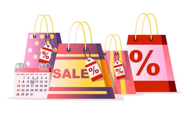Sacs en papier commerciaux avec étiquette de vente % illustration vectorielle plane isolée sur fond blanc.