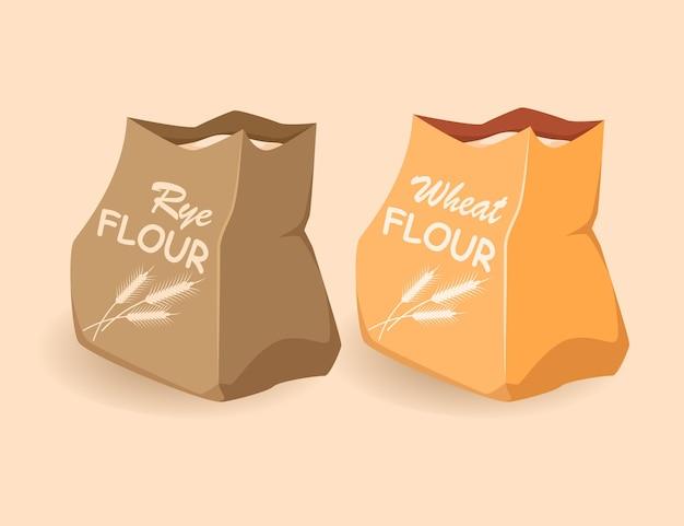 Sacs en papier avec farine de blé seigle emballage écologique de produits cartoon plat