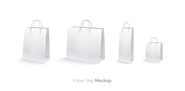 Sacs en papier mis mocap sacs à provisions isolés sur fond blanc grand sac sac moyen petit sac sac pour bouteille illustration vectorielle réaliste 3d