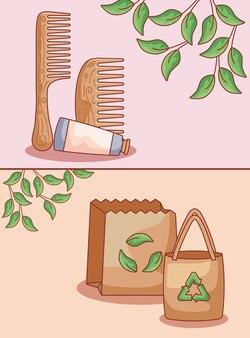 Sacs en papier avec set écologique