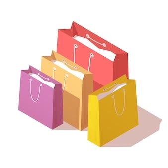 Sacs à provisions en papier coloré.