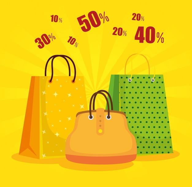 Sacs à provisions avec sac à main à la réduction de vente