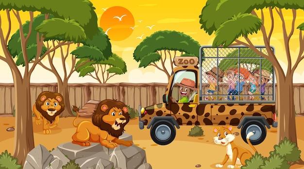 Safari au coucher du soleil avec de nombreux enfants regardant un groupe de lion