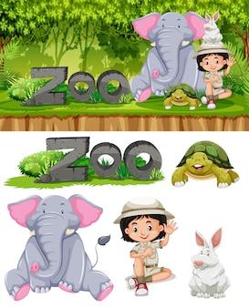 Safari fille et animaux de zoo