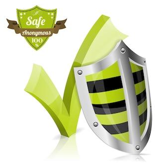Safe concept avec bouclier et étiquette