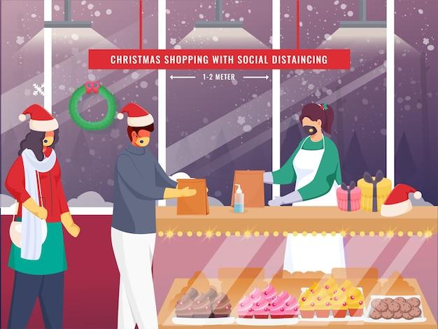 Safley christmas shopping à la boulangerie en raison de la pandémie corona