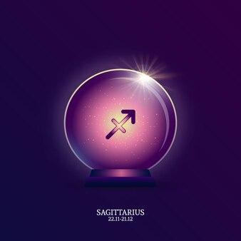 Sagittaire. signe de l'horoscope. icône du zodiaque en boule magique