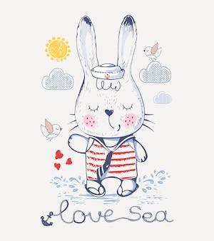 Sailor rabbitbunny dessiné à la main peut être utilisé pour la conception de chemises pour enfants ou bébés