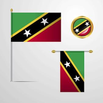Saint-kitts-et-nevis en agitant la conception du drapeau avec le vecteur insigne