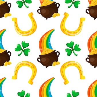 Saint patrick day seamless pattern cartoon shamrock, trésors de lutins, arc-en-ciel, fer à cheval doré
