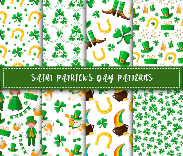 Saint patrick day seamless pattern set kawaii cartoon boy and girl, shamrock, dog in hat, flags, garland, sweet cake