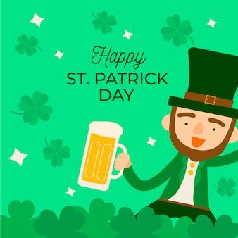 La saint-patrick avec homme tenant de la bière
