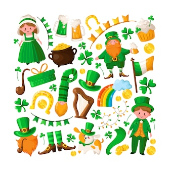 Saint patricks day cute boy and girl in green retro costumes, cartoon shamrock, leprechaun, pot of gold coins, smoking pipe, bowler hat, beer