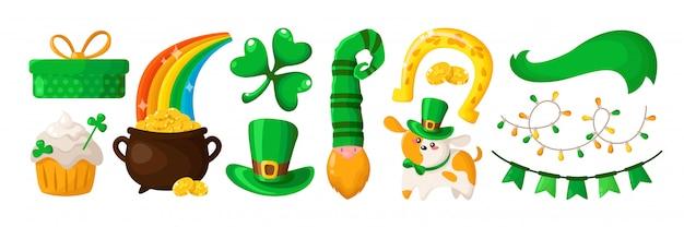 Saint patricks day trèfle de dessin animé, chiot mignon, nain ou lutin au chapeau vert