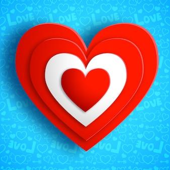 Saint valentin amour avec illustration vectorielle de coeurs rouges isolé