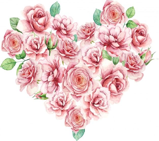 Saint-valentin aquarelle, superbe design pour toutes fins.