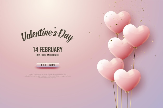 Saint valentin avec des ballons coeur.