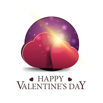 Saint-valentin bannière ronde avec deux coeurs