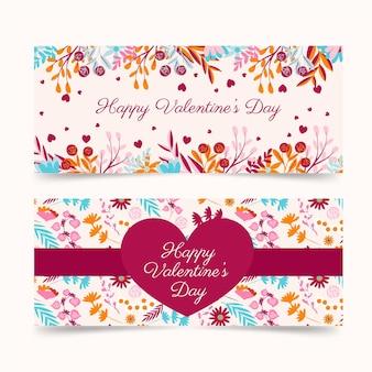 Saint-valentin bannières horizontales dessinées à la main