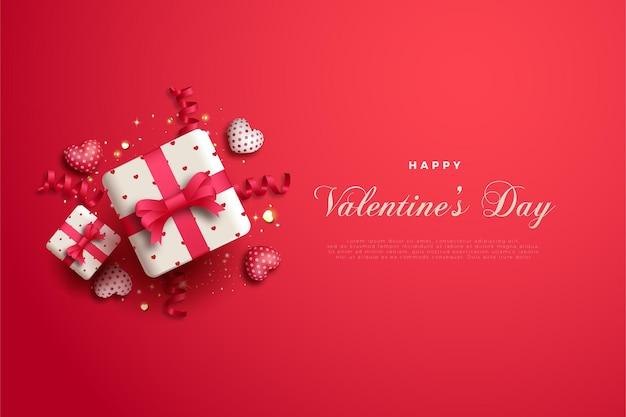 Saint valentin avec boîte-cadeau avec ruban rouge.
