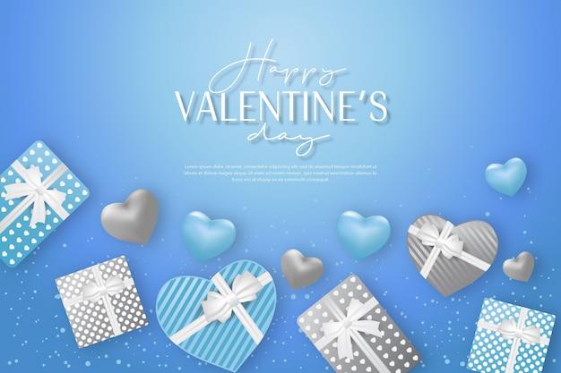 Saint valentin avec cadeau et bannière de fond bleu