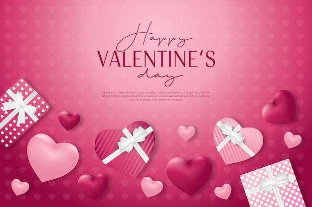 Saint valentin avec cadeau et bannière de fond rose