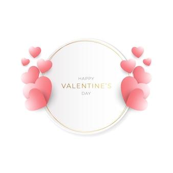 Saint valentin avec cadre doré et couleurs douces