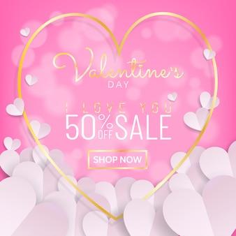 Saint valentin cadre vente coeur calligraphie or coeur avec du papier découpé