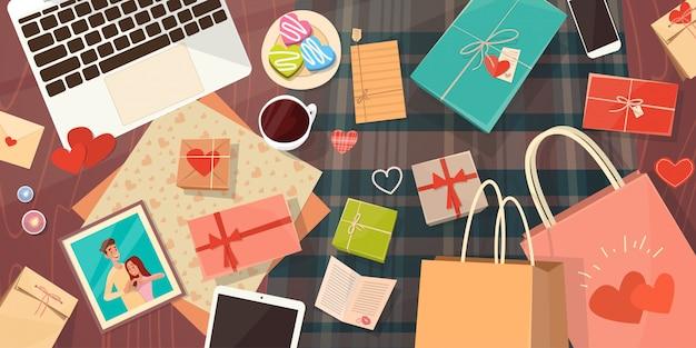 Saint-valentin carte-cadeau espace de travail décoré pour les vacances bureau espace de copie vue de dessus