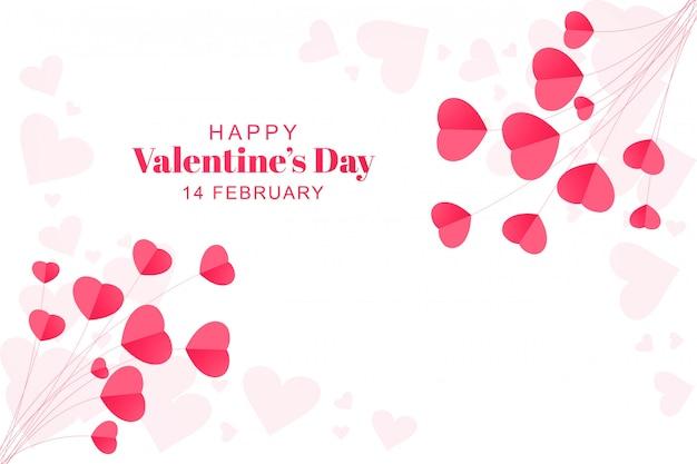 Saint valentin avec carte coeurs en papier
