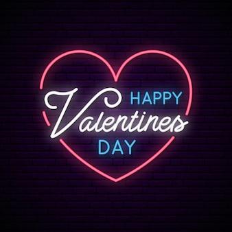 Saint valentin avec coeur et texte néon