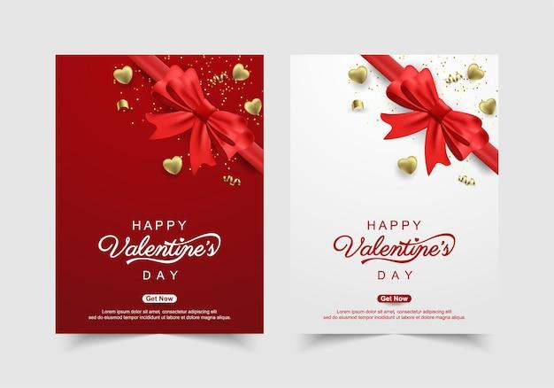 Saint valentin avec des coeurs en or