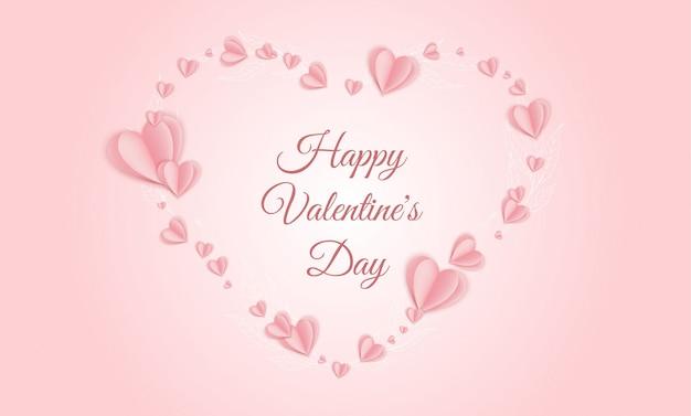 La saint-valentin . coeurs en papier rose. bannière de vente d'amour mignon ou carte de voeux