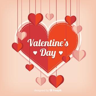 Saint valentin avec des coeurs de papier