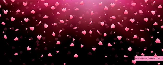 Saint valentin coeurs roses confettis pétales tombant fond de vecteur. motif de texture de coeur.