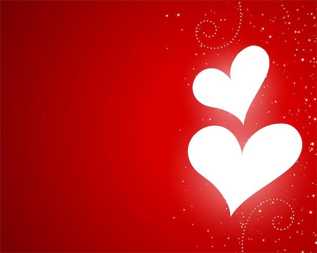 Saint valentin coeurs rougeoyants design rouge