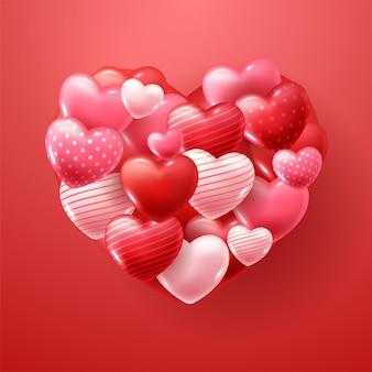 Saint valentin avec des coeurs rouges et roses