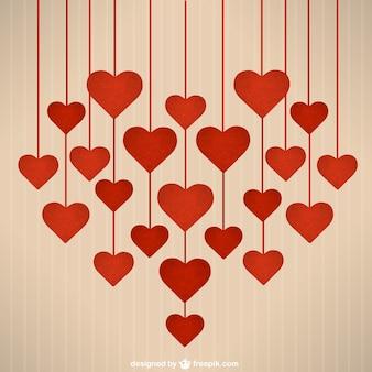 Saint valentin coeurs suspendus
