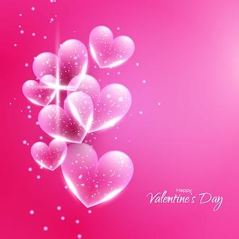 Saint valentin avec coeurs transparents