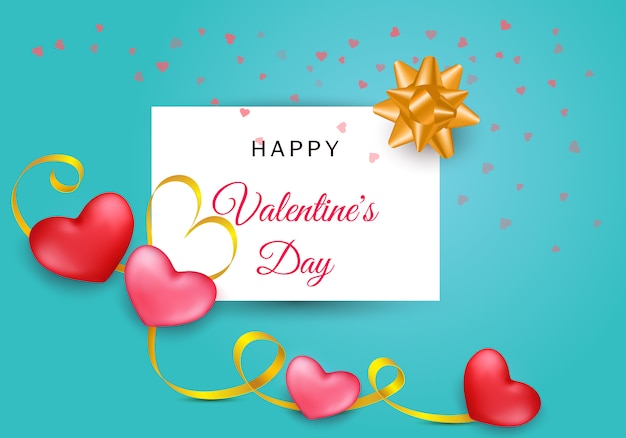 Saint valentin composition avec deux coeurs et rayures