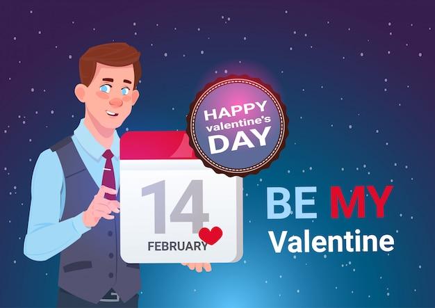 Saint-valentin concept bannière calendrier de tenue d'homme mignon page 14