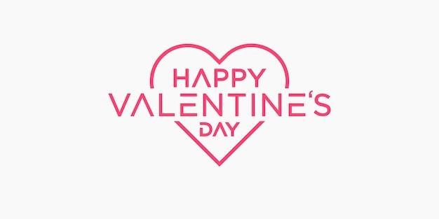 La saint-valentin. conception de lettrage de ligne. joyeuse saint valentin
