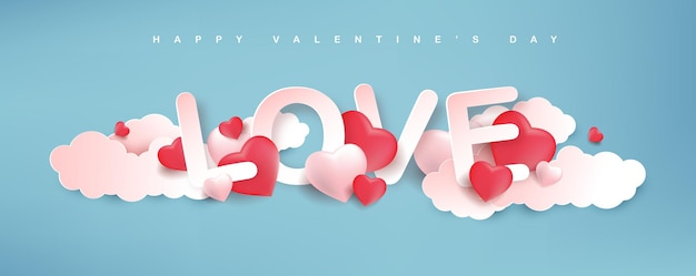 Saint-valentin de conception de papier kraft avec des coeurs et des nuages