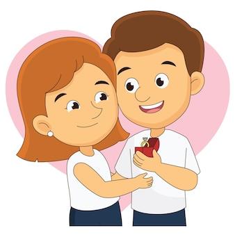 Saint valentin et couple heureux femme et homme avec bague géante
